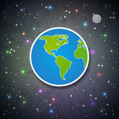 Cartoon Earth and the Moon — Stock Vector