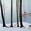 Snowy forest with bird and colorful leaves — Stock Photo