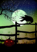 Fence with a crow,moon and frightening pumpkin — Stock Photo