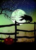 Valla con un cuervo, luna y temible calabaza — Foto de Stock