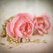 Romantic rose decoration on the table — Stock fotografie