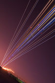 The lights of an airplane during night landing — Stock Photo