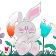 Stock Photo: Bunny with flowers and easter eggs