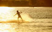 Wake- boarding on the lake — Стоковое фото