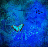 Fondo grunge con mariposa — Foto de Stock