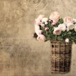Old letter paper background with roses — Stock Photo #34074723