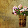 Stock Photo: Old letter paper background with roses