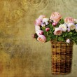 Old letter paper background with roses — Stock Photo