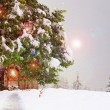 Fairy cottage in a Christmas ornament — Stock Photo