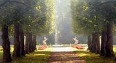 Unicorn statue in the Hellbrunn Palace gardens — Stock Photo