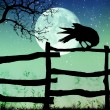 Fence with a crow,moon — Stock Photo