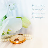 White orchid,pearls and golden swatch — Stockfoto