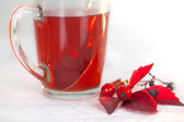 Rosehip herbal tea with rosehip ornament — Stock Photo