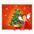 Little angel with a snowflake and a Christmas tree — Stock Photo