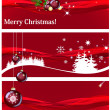 Christmas banners on red background — Stock Photo