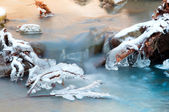 Little cascade with ice — Stock Photo