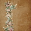 Floral garland on old paper background, — Stock Photo