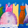 Ladies in dresses abstract painting by Kay Gale — Stock Photo