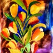 Stock Photo: HDR flower art in acrylic