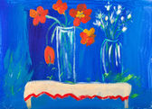 Flowers in vases acrylic painting by Kay Gale — Stock Photo