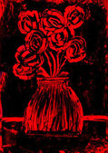 Roses in red and black painting — Stock Photo