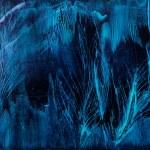 sfondo blu piume nella pittura di cera — Foto Stock