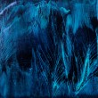 fundo de penas azuis na pintura de cera — Foto Stock