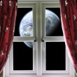 Planet viewed through a window with curtains — Stock Photo