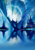 Subterranean Castles was painting in blue — Stock Photo
