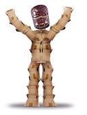 Box man hiding behind a tribal mask — Stock Photo
