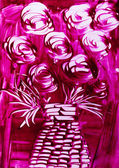 Roses in pink with wicker vase — Stock Photo