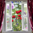 Open window view onto wild flower garden — Foto Stock