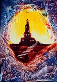 Castle rock silhoutte painting in wax — Stock Photo