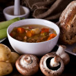 Home made soup and bread - Stock Photo
