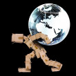 Royalty-Free Stock Photo: Box man carrying a globe
