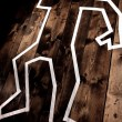 Dead man outline on floor - Stock Photo