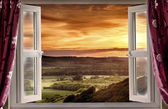 Open window to rural landscape — Stock Photo