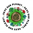 Planet earth icon with slogan — Photo