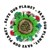 Planet earth icon with slogan — Stock Photo