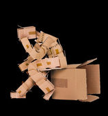Box man deep thinker — Stock Photo