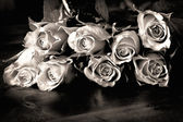 Roses on a table in black and white — Stock Photo
