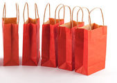 Red shopping bag line — Stock Photo