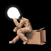 Ampul kutu adam karakteri — Stok fotoğraf