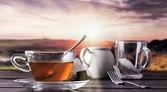 Outdoor morning breakfast — Stock Photo