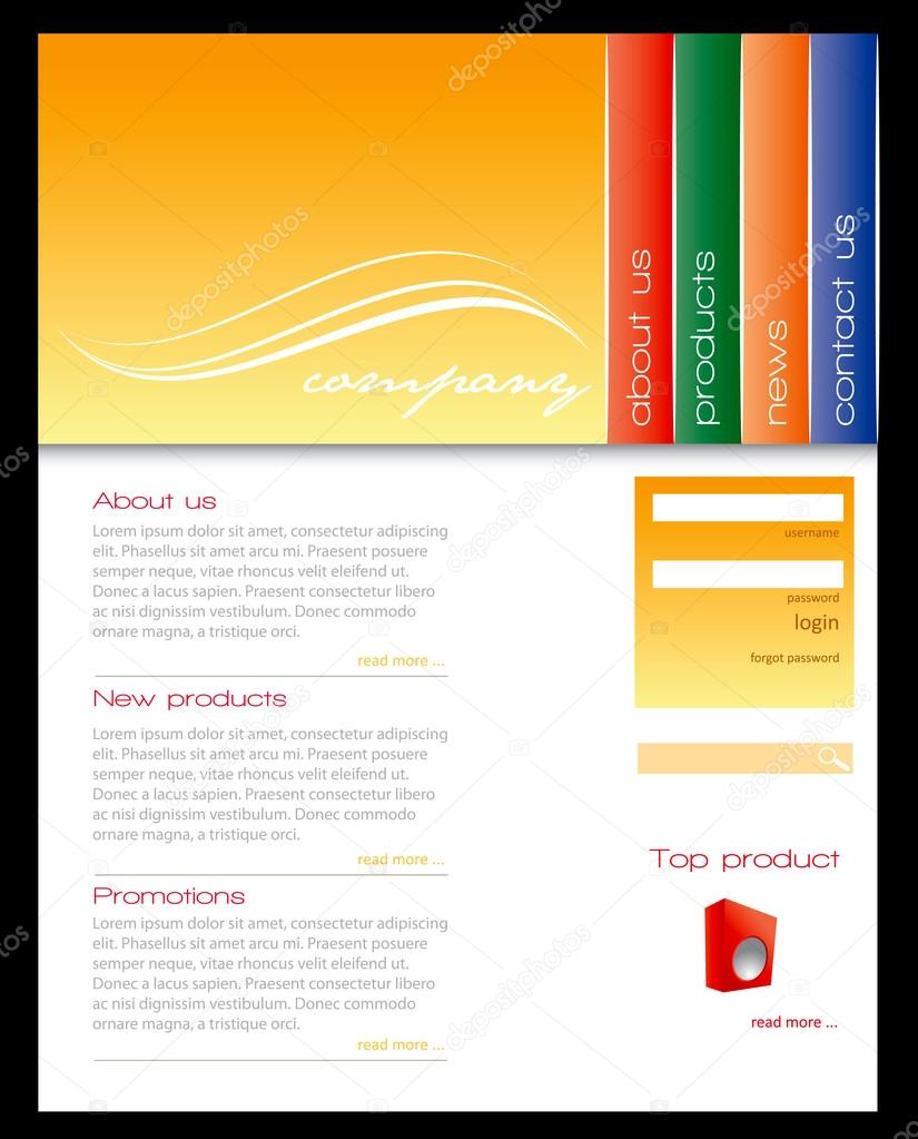 simple website template stock vector archymeder 12671134. Black Bedroom Furniture Sets. Home Design Ideas