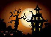 ハロウィーンの夜の図 — ストックベクタ