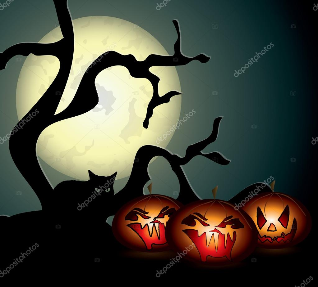 Halloween night illustration in editable vector format  Stock Vector #13933959