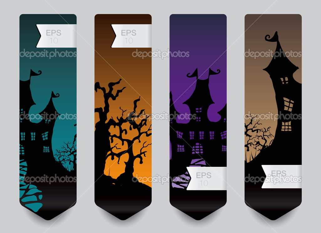 Vertical banner concept for Halloween in editable vector format — Stock Vector #13934012