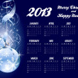 2013 calendar with Christmas greeting - Stock Vector