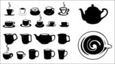Silhouettes of coffee cups — Stock Vector